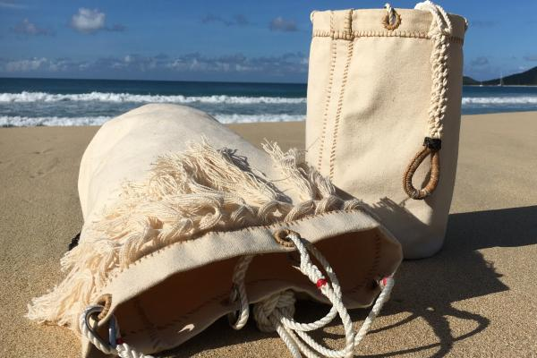 Hand stitched canvas knots leather ropework marine traditional nautical
