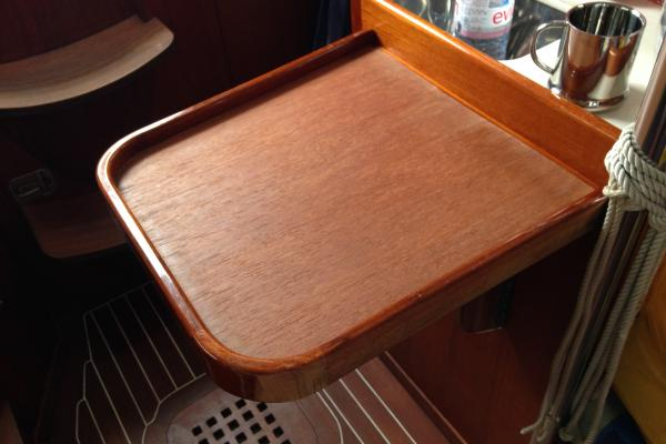 custom teak table yacht interior
