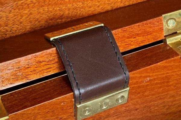 sea chest mahogany handcrafted bespoke woodwork leather brass