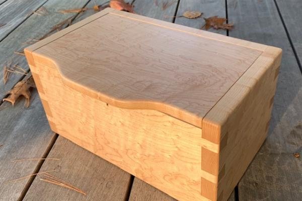 BirdsEye Maple Handcrafted Woodworking finger joints treasure box gift